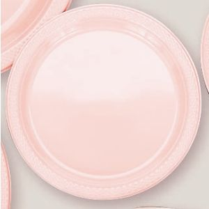 "Plastic Pale Pink Dinner Plates. Plastic 10.25"" Dinner Plates Solid ColoursThere are 20 Plastic Dinner Plates per package. They are a LARGE 10.25 inches and come in 22 colours to suit any theme or event. This is a great item if you require a large plate that is stronger than paper."