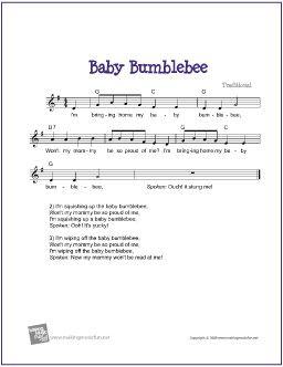 Baby Bumblebee | Free Sheet Music for Guitar (Lead Sheet) - http://www.makingmusicfun.net/htm/f_printit_free_printable_sheet_music/baby_bumblebee_leadsheet.htm