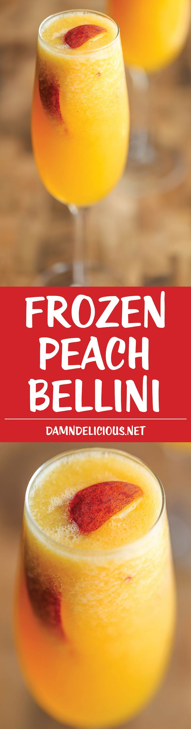 Frozen Peach Bellini - Wonderfully light, refreshing & bubbly. All you need is 3 ingredients and 5 minutes! 3 cups frozen peach slices, 1 cup mango nectar 1 (750-mL) bottle Prosecco, chilled