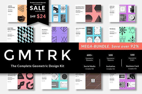 Geometric graphic design Mega Bundle // GMTRK by Pixel Supplies on @creativemarket
