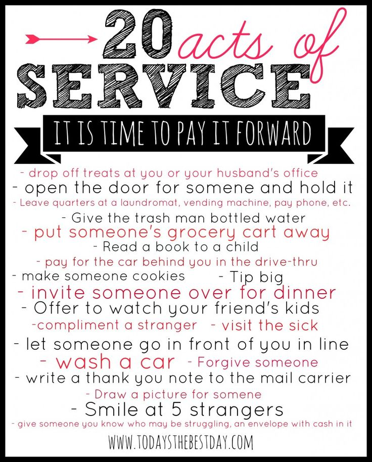 Pay It Forward – SERVICE CHALLENGE | 20 Acts of Service Ideas ...