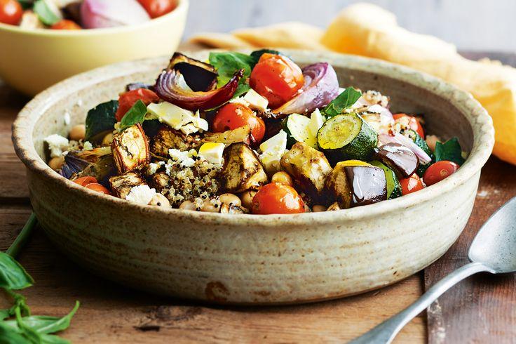 Quinoa salad with chickpeas, roasted eggplant and feta #vegetarian http://www.taste.com.au/recipes/32367/quinoa+salad+with+chickpeas+roasted+eggplant+and+feta
