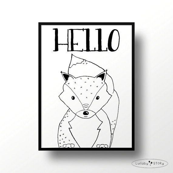 Kids poster Hello fox-Scandi poster-Scandinavian by LullabySTORY