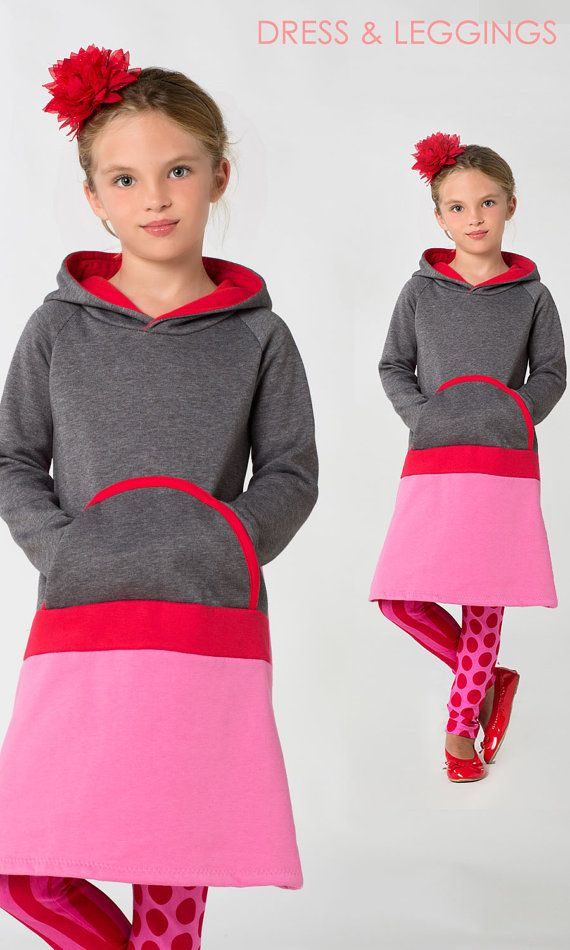 Instant download easy childrens sewing pattern for a girls dress.  The Sally dress is a super comfortable girls dress for Winter with a