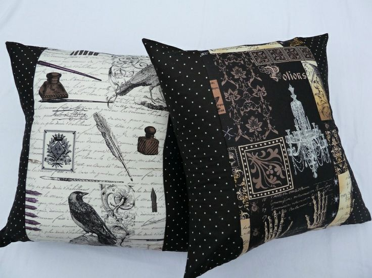 Birds Nest Bunting - The Hive NZ Nevermore cushion covers These cotton prints features a collage of Edgar Allan Poe motifs and the colors include black, brown and white, and have a small spotty print on each side. Set of 2 for $60 including p&p www.thehivenz.co.nz/birds-nest-bunting