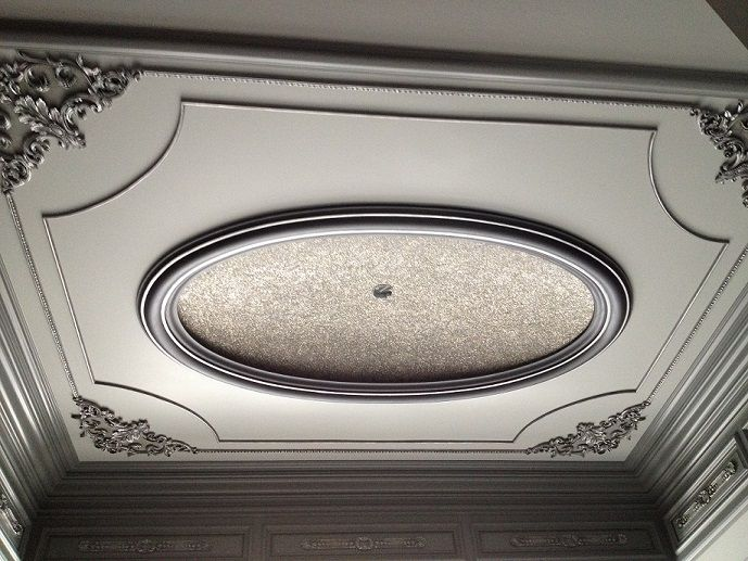 Modern Masters Glass Bead Gel with pearl beads and pure silver glass glitter on dome ceiling. Steel Gray Metallic Paint on trim and molding. Ornamentation on ceiling from JP Weaver. | Artist: Tracy Wade Design, LLC