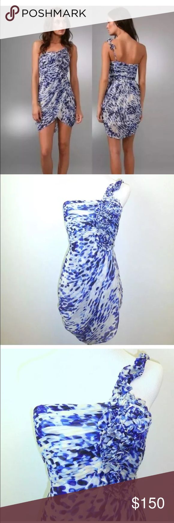 BCBGMax Azria one shoulder animal print silk dress Gorgeous 100% silk blue combo cocktail one shoulder ruffled adjustable strap dress. Bustier with boning for added support. Fully lined. Back zip slightly longer length in the back. BCBGMaxAzria Dresses