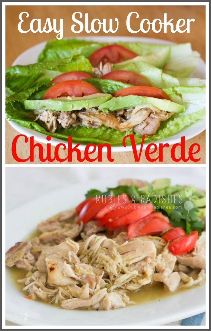 Easy Slow Cooker Chicken Verde | Tacos, Salsa verde and Slow cooker ...