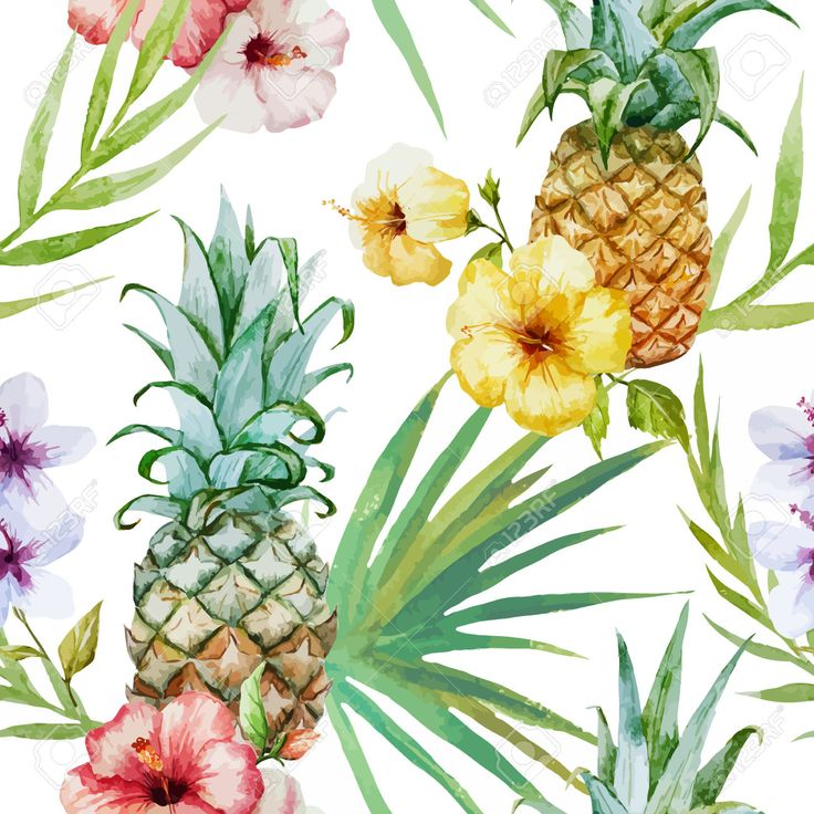 Vector topical pattern with pineapples, hibiscus flowers and palm leaves