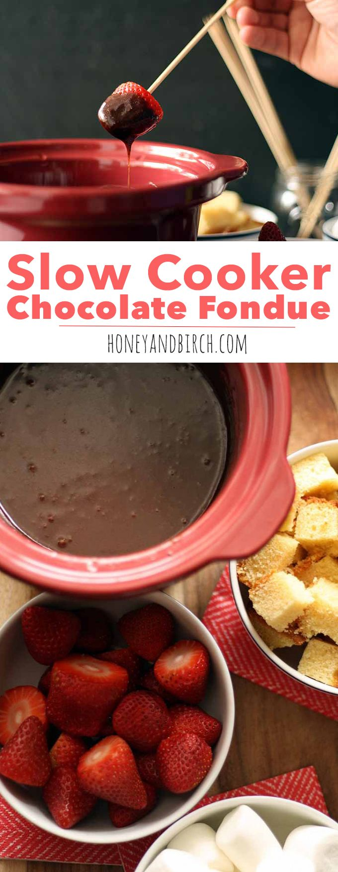 Slow Cooker Chocolate Fondue - the perfect easy recipe for parties and special occasions like Valentine's Day. Only 3 ingredients! | www.honeyandbirch.com