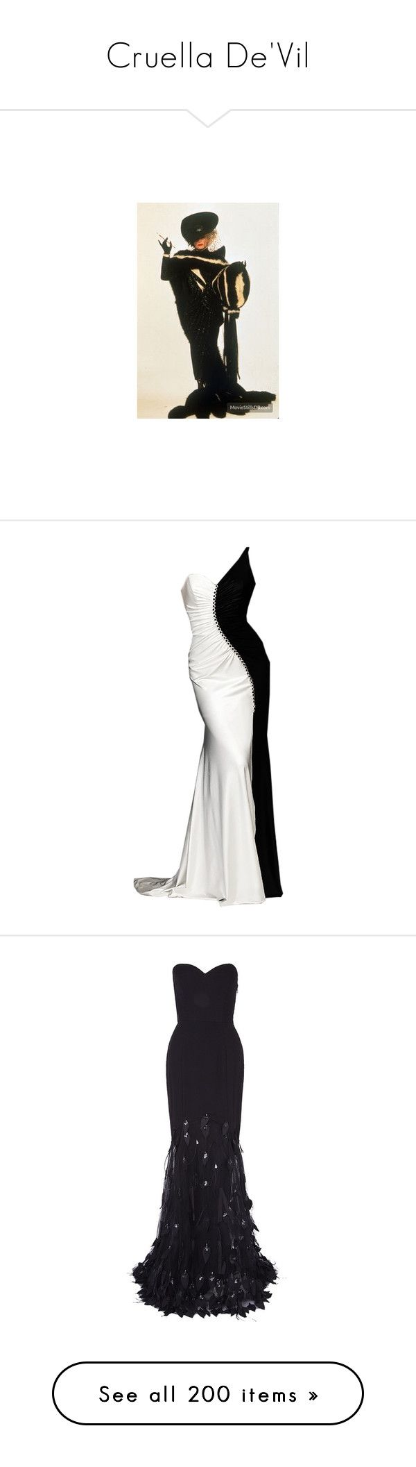 """""""Cruella De'Vil"""" by priscilla12 ❤ liked on Polyvore featuring dresses, gowns, long dresses, vestidos, maxi dress, strapless dress, black ball gown, black evening dresses, long black evening dress and black feather dress"""
