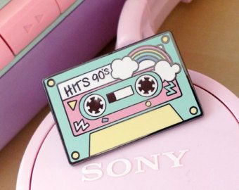 Enamel pin music cassette 90 candy party kawaii cake by ChicKawaii