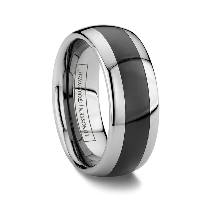 Paragon 8mm Domed Two Tone Black Tungsten Ring With Ceramic Inlay Male Wedding Ringsunique