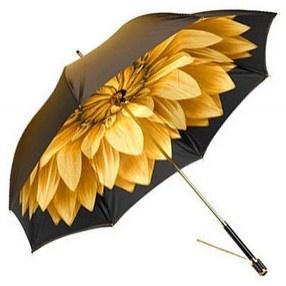 Sunflower umbrella:)Flower Umbrellas, Design Cufflinks Gold, Sunflowers Umbrellas, Lotus Flowers, Leather Wallets, Leather Handbags, Gold Flower, Lady Umbrellas, Rainy Days