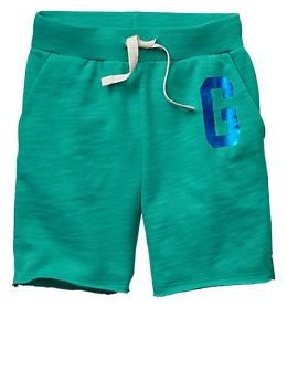 Logo knit Bermuda shorts turquoise girls