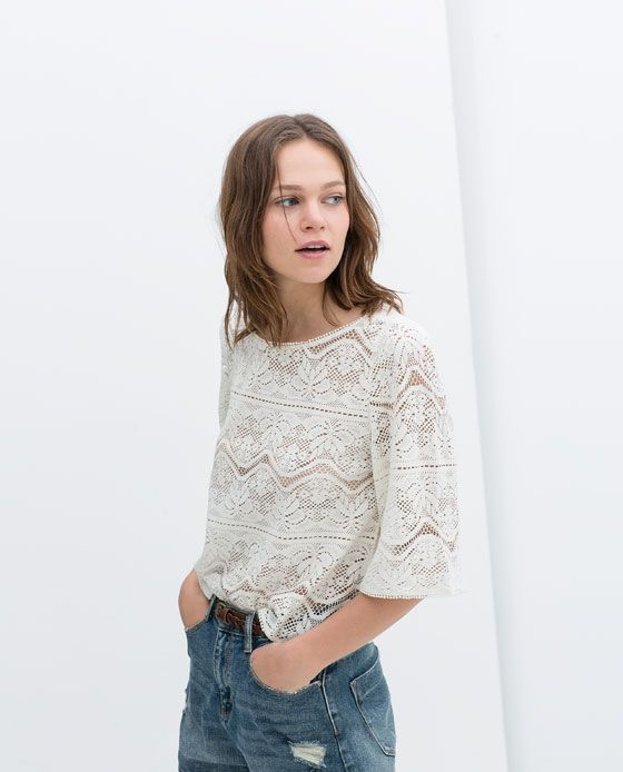 Image 4 of CROCHET BATWING TOP from Zara