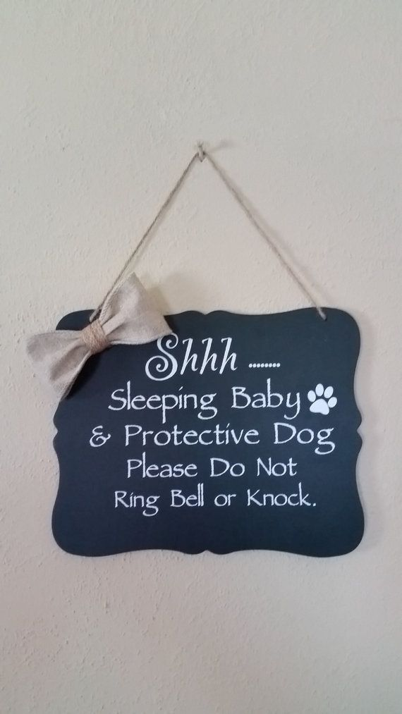 Cute lightweight chalkboard door sign for when your precious baby is sleeping. This would make a great baby shower gift!  ♥ Chalkboard Door Sign