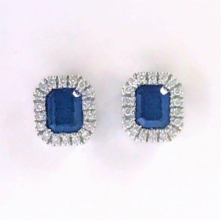18ct White Gold Sapphire& DiamondStud Earrings