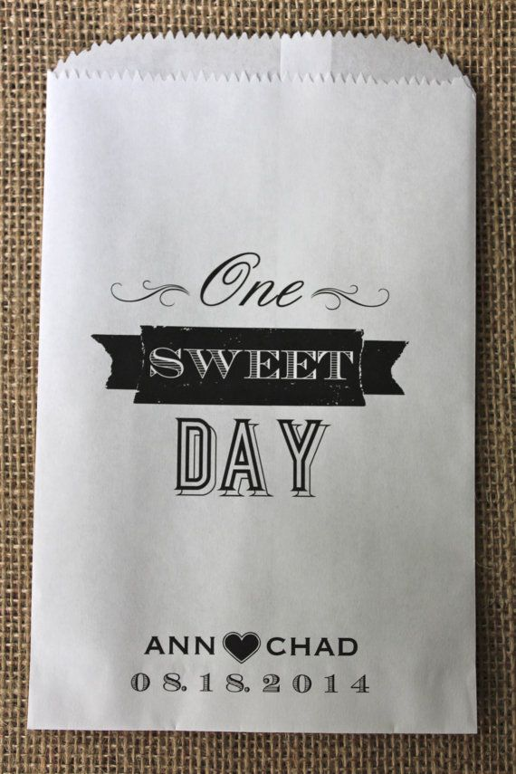 One Sweet Day Personalized Candy Buffet Favor Bags by RootedManor, $13.75