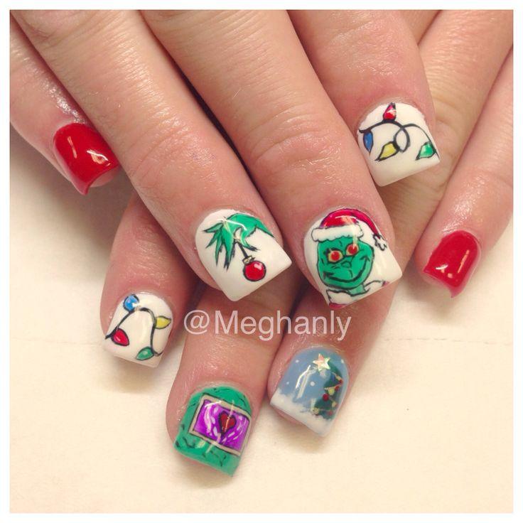 Grinch nails Christmas nail art