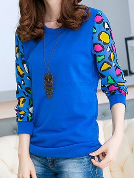 Chic O-neck Full Sleeve Leopard Printed Patchwork Women Leisure T-Shirt  #buytrends