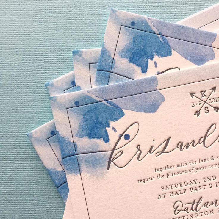watercolour blues bordering 1 colour letterpress on 300gsm bright white (@bettertogetherpaper)