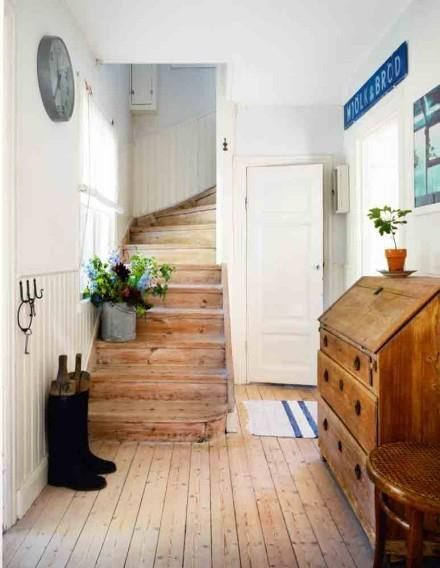 Love the bead board and natural timber floors in this country style house entry...