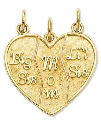 14k Gold Charm, Break Apart Big Sis, Mom and Lil Sis Charm