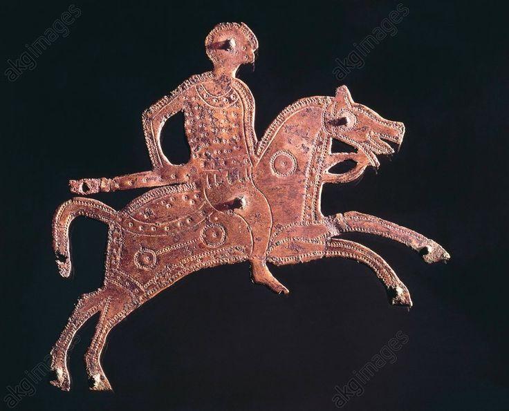 Lombard gilt bronze buckle ornament in shape of a horseman, Stabio, Switzerland