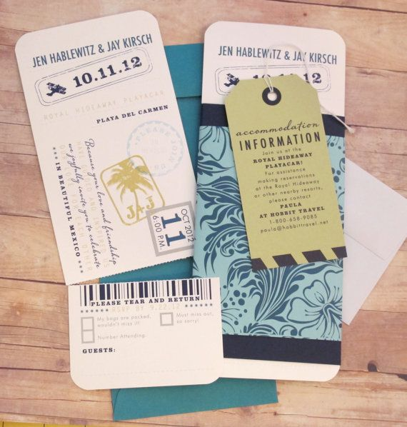 Destination Ticket - Boarding Pass - Wedding Invitation