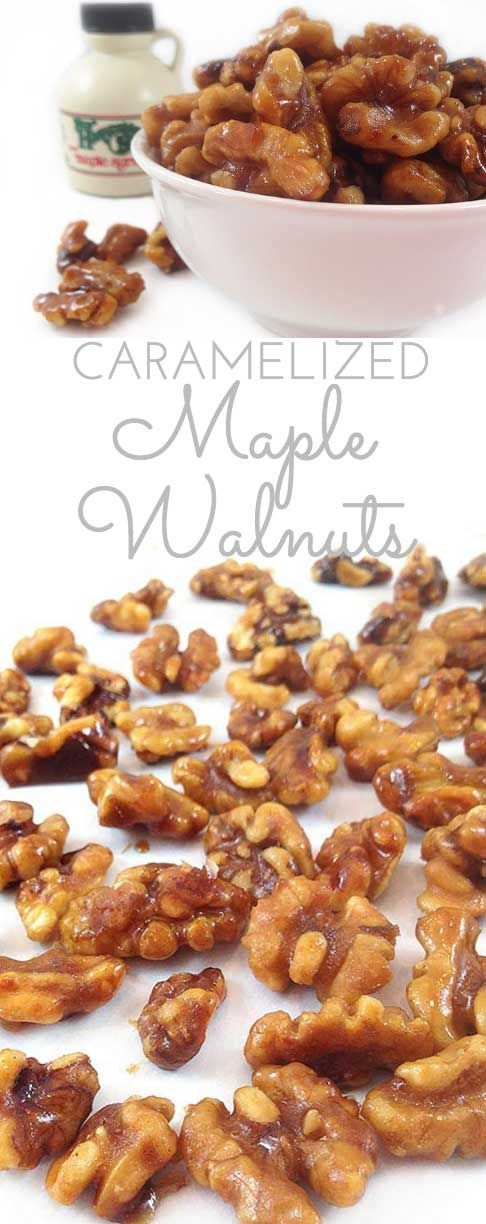 Caramelized Maple Walnuts: my newest addiction. Pure maple syrup makes a lovely candied walnut. Perfection in trail mix, salads, ice cream, oatmeal & more!