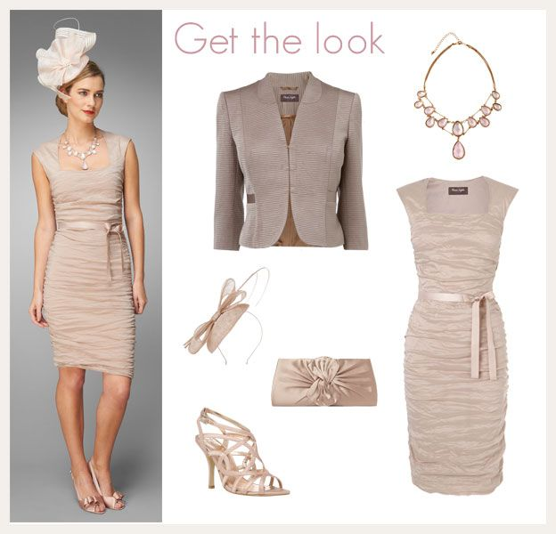 Lauren Crush Dress, Lylah Ottoman Jacket, Hope Bow Clutch Bag, Ruth Fascinator and Tia Filigree Sandals by Phase Eight