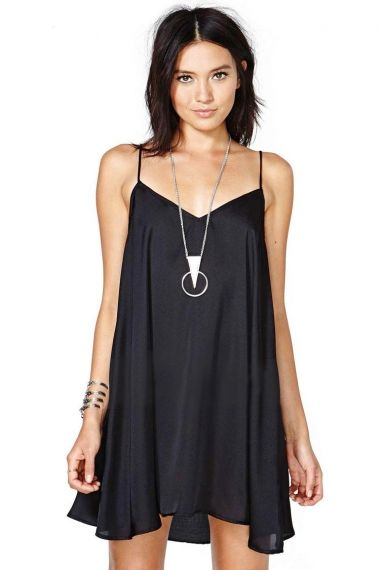 Love Love Love this Look! Silver + Black! Black V-neck Spaghetti Strap Sleeveless Dress #Black #LBD #Fashion #Silver #Statement_Necklace
