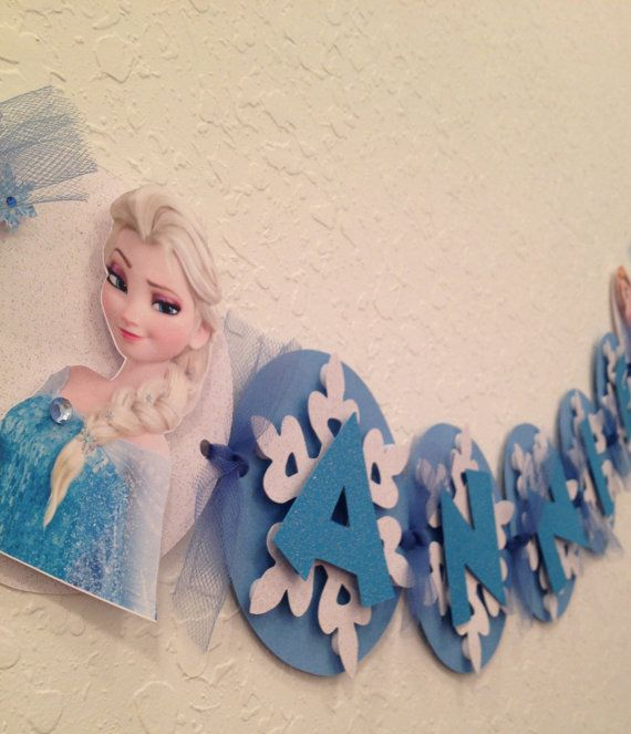 frozen banner frozen name banner by karlaspartycreations on Etsy, $18.00