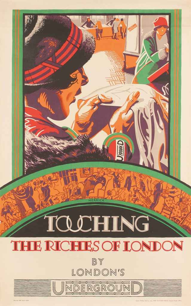 """Vintage London Underground poster, Touching the Riches of London, 1927, by Frederick Charles Herrick (1887–1970). Colour lithograph printed by The Baynard Press, 40 x 24 1/2"""" (101 x 62 cm)"""