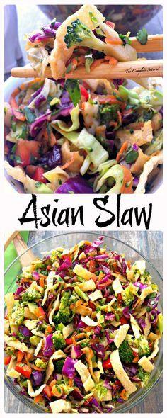 Asian Slaw ~ The Complete Savorist Crunchy Veggies, Tangy Dressing, and Crispy Wonton Strips