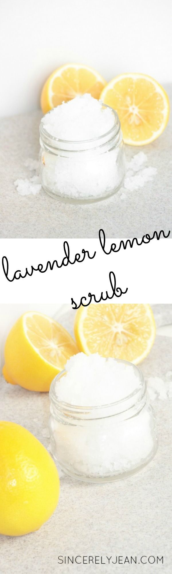 Lavender Lemon Salt Scrub - Step by step tutorial on how to make your own salt scrub | http://www.sincerelyjean.com