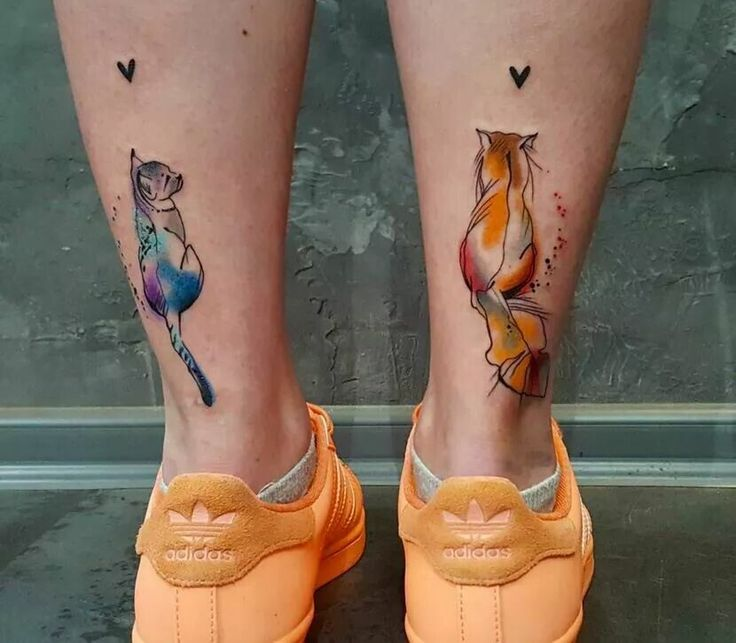 cat watercolour tattoos (lower back of calf placement)