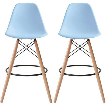"Free Shipping. Buy 2xhome - Set of 2 (Two), 25"" Seat Height Modern Eames Chair Plastic Eames Bar Stool Counter Stools With Back Eiffel Chairs Natural Wood Legs Blue at Walmart.com"