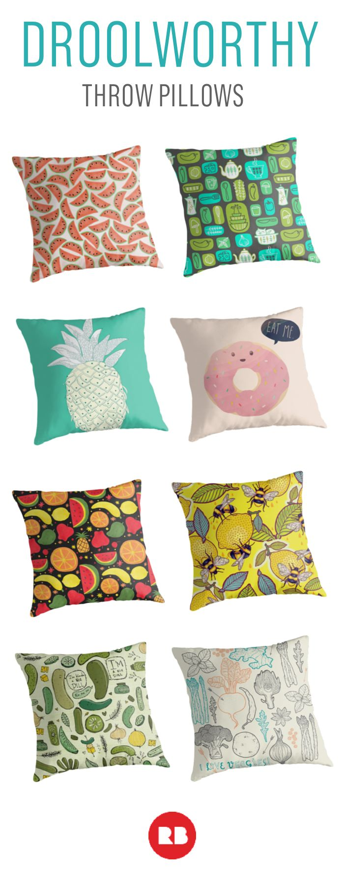 Freshen up your decor with some bright citrus or pineapple prints. You don't have to be a foodie to love these food-themed pillow from Redbubble.