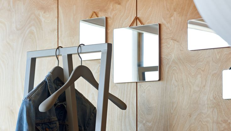 Loop stand hall, Soft Coat hanger and Ruban Mirror