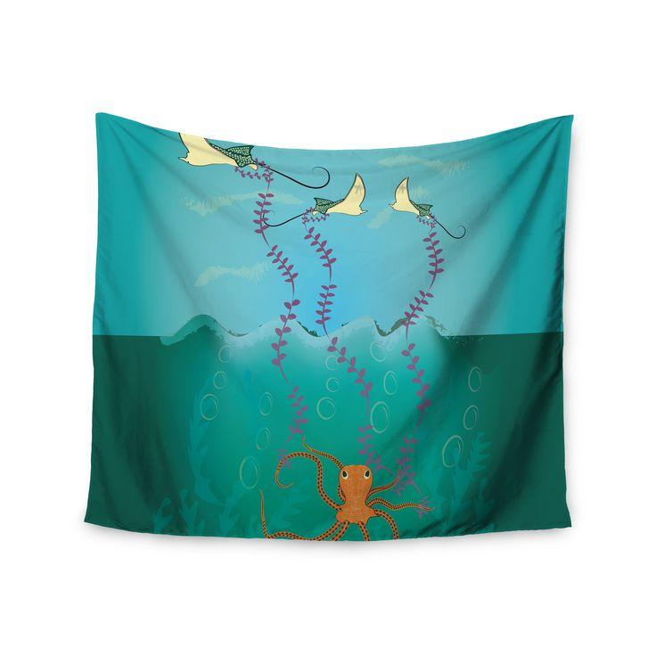 "Famenxt ""Octopus Flying Manta Rays"" Teal Green Wall Tapestry"