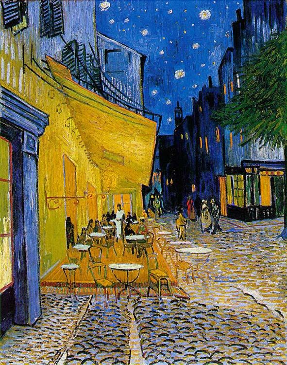 "Vincent van Gogh, Terrasse de café, Place du Forum, Arles, 1888    Elaine Weiner - Creative License  http://elaineweinerart.com  http://elaineweinerart.blogspot.com  Check out my ""Starry Night"" painting and my Blog tribute to Van Gogh."