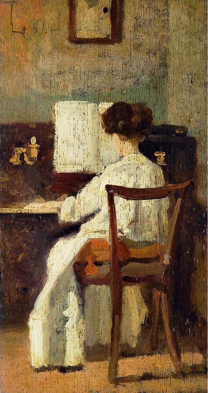 """Silvestro Lega (Italian, 1826 - 1895) - """"Signora al pianoforte"""" (Lady at the…"""
