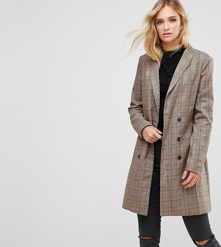 Missguided Tall Checked Longline Jacket - Brown