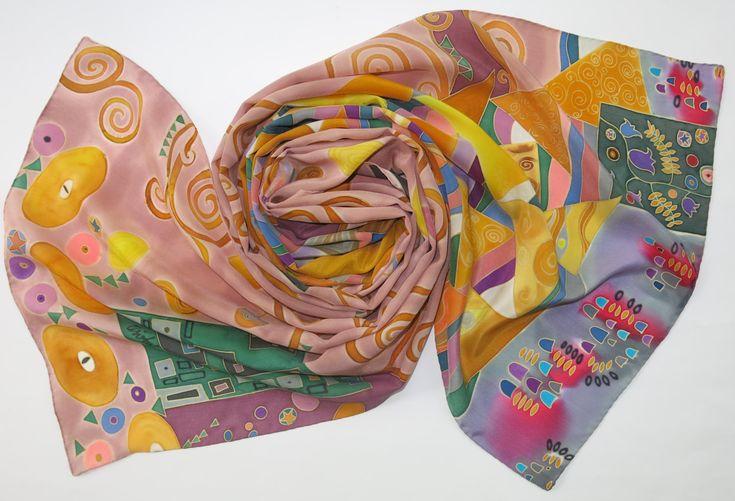Klimt silk scarf. Natural silk Hand painted silk scarf in yellow, pink, green painted silk. Batik scarf silk painting. Summer shawl by SilkMood on Etsy