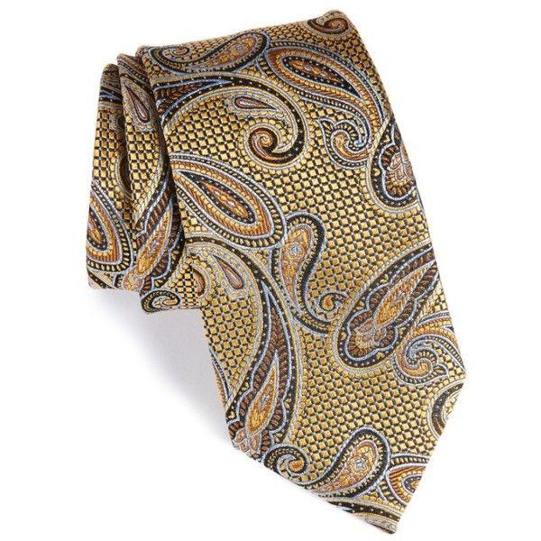 Men's Nordstrom Men's Shop Paisley Silk Tie (€68) ❤ liked on Polyvore featuring men's fashion, men's accessories, men's neckwear, ties, black, men's silk ties, mens ties, mens paisley ties and mens yellow tie