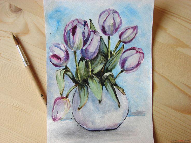 Мастер-класс по рисованию с фото научит как нарисовать цветы, подробно описав как рисуются тюльпаны поэтапно.