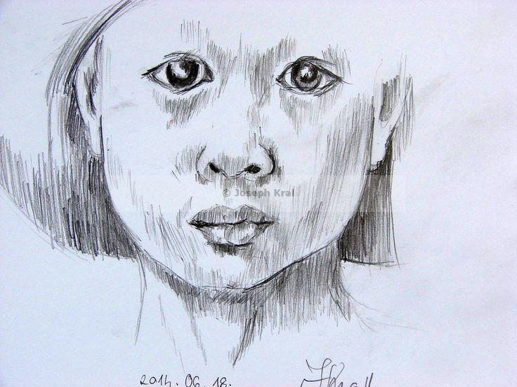 lany - fej - vonalas - ceruza rajz / Szunyoghy András könyvéből
