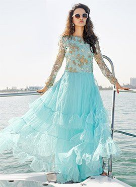 Turquoise Net Ankle Length Anarkali Suit